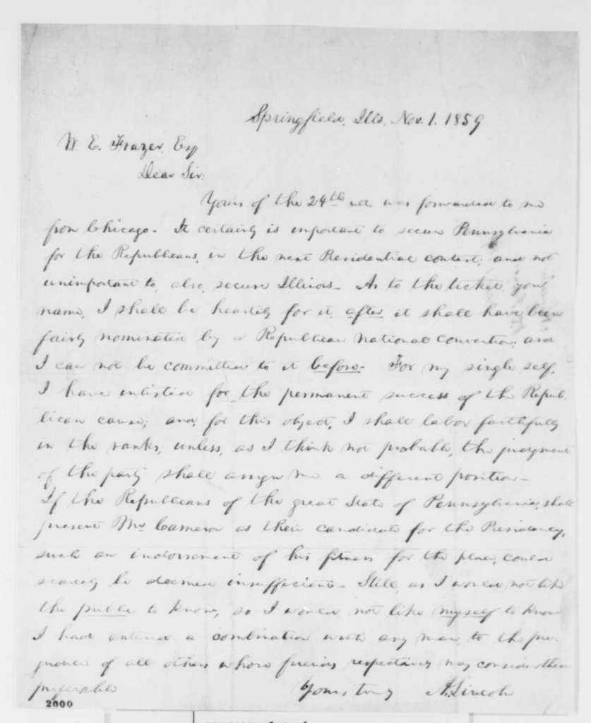 Abraham Lincoln to William E. Frazer, Tuesday, November 01, 1859  (Politics)