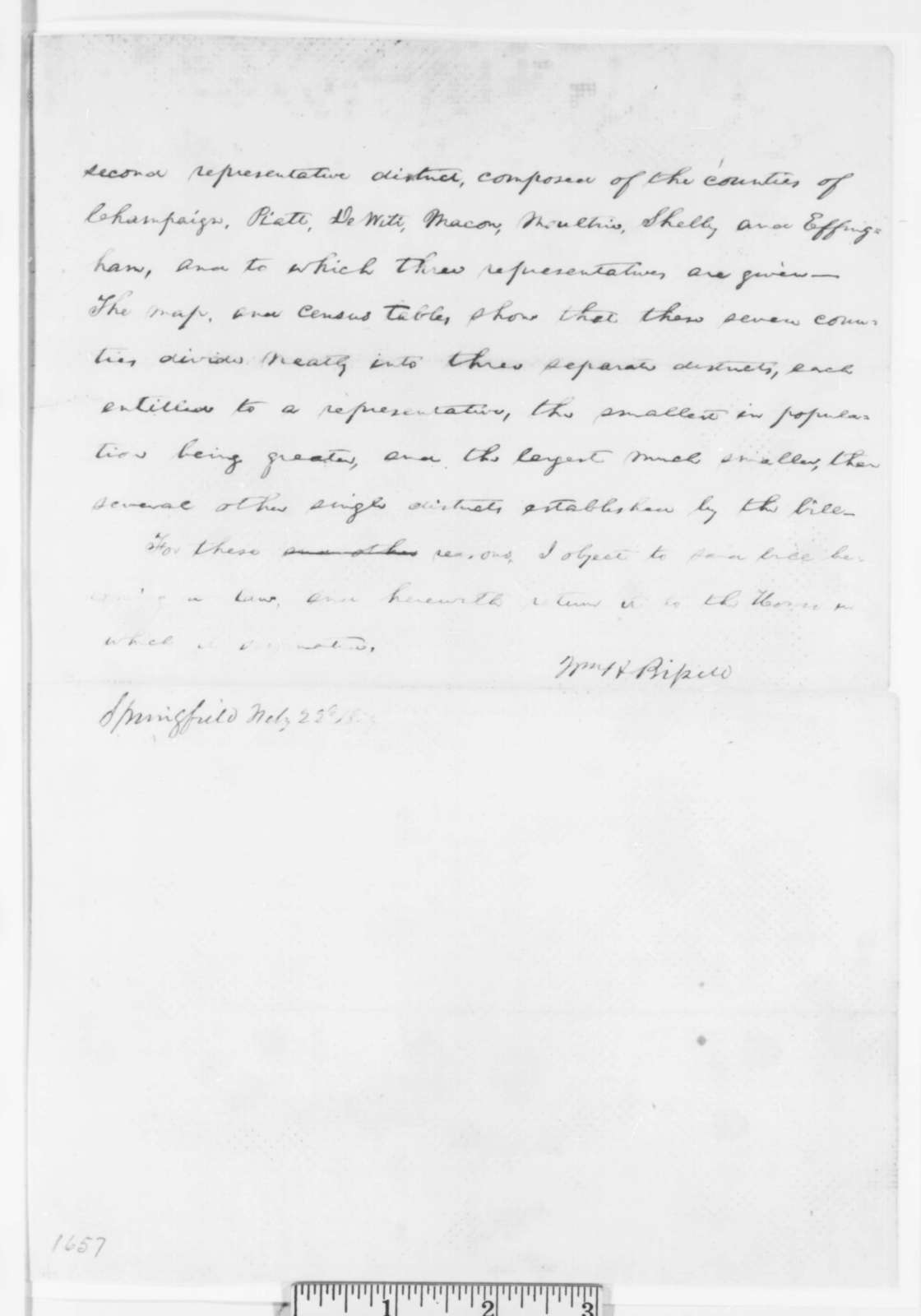 Abraham Lincoln, Tuesday, February 22, 1859  (Veto Message Written for Governor Bissell)