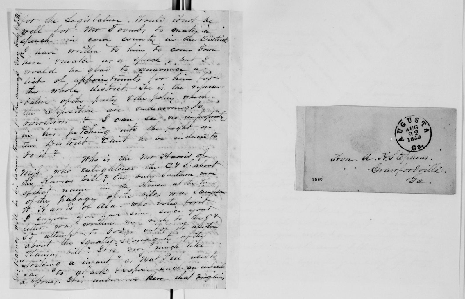 Alexander Hamilton Stephens Papers: General Correspondence, 1784-1886; 1859, July 17-Oct. 24