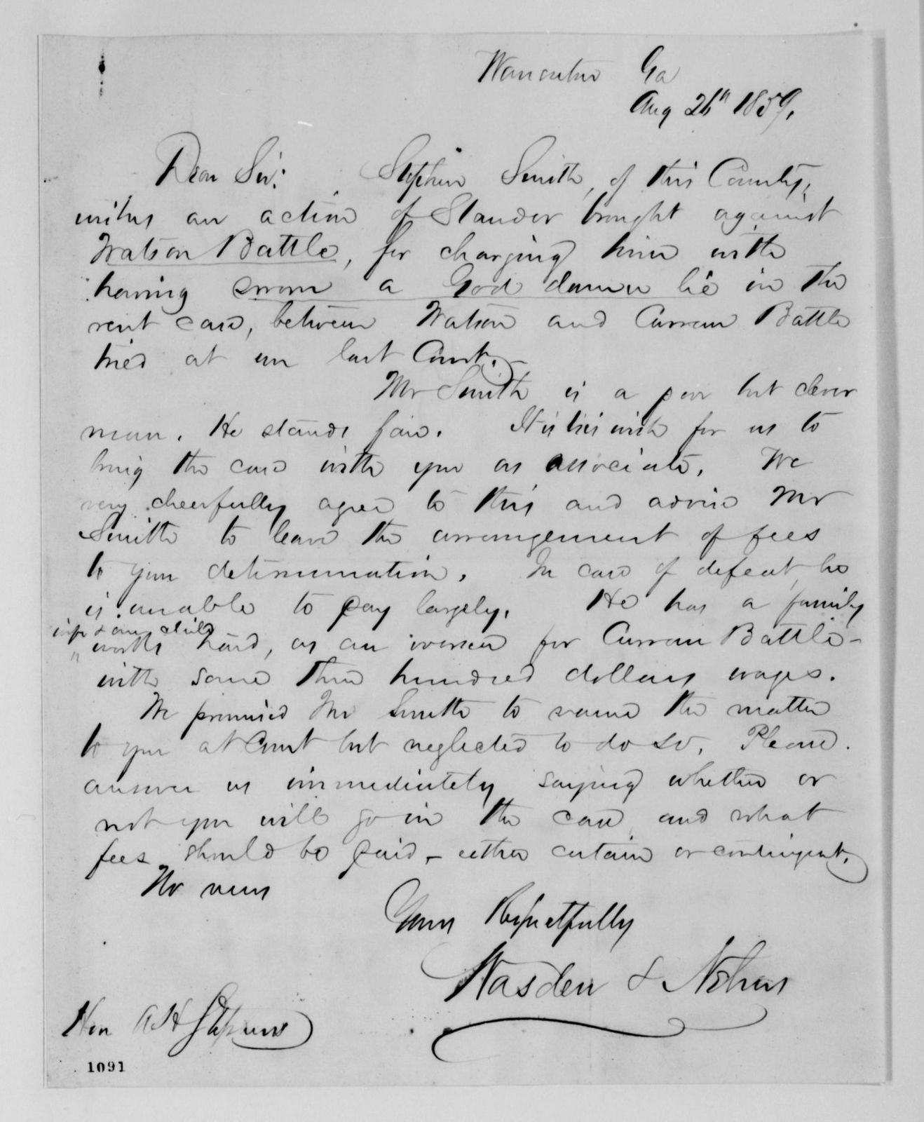 Alexander Hamilton Stephens Papers: General Correspondence, 1784-1886; 1859, July 17-Oct. 24