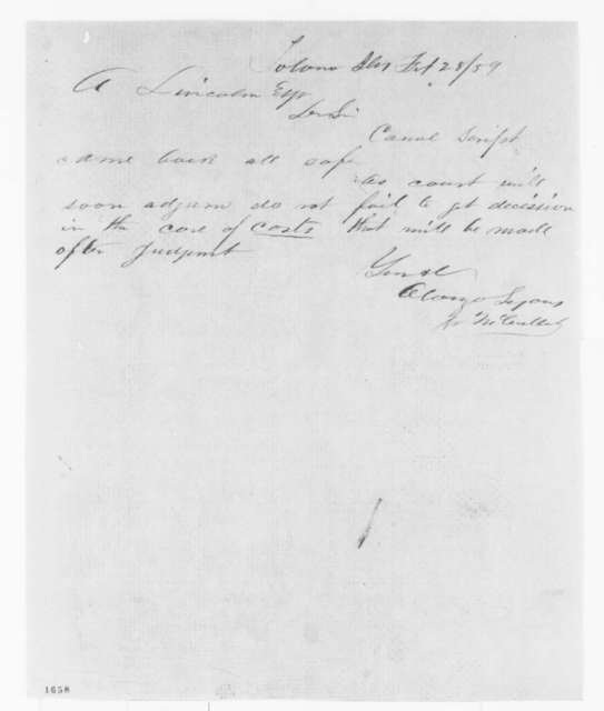Alonzo Lyons to Abraham Lincoln, Monday, February 28, 1859  (Legal matters)