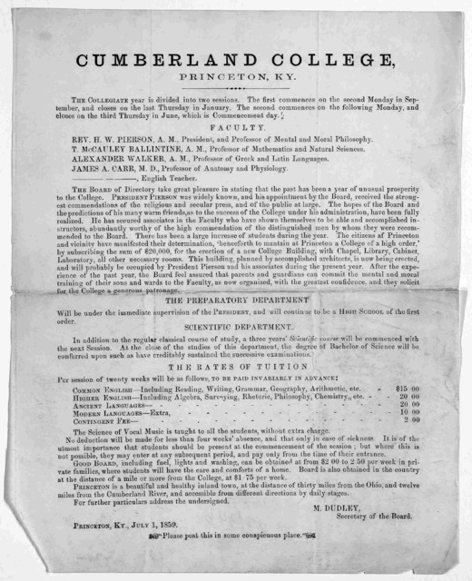 [Announcement of the faculty, terms of tuition for Cumberland College, Princeton, Ky. July 1, 1859].