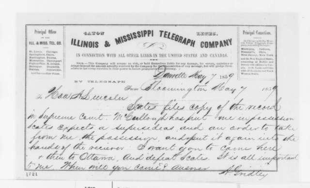 Asahel Gridley to Abraham Lincoln, Saturday, May 07, 1859  (Telegram; legal matters)