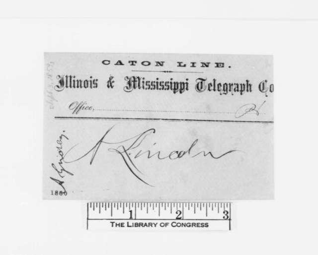 Asahel Gridley to Abraham Lincoln, Saturday, September 03, 1859  (Telegram)