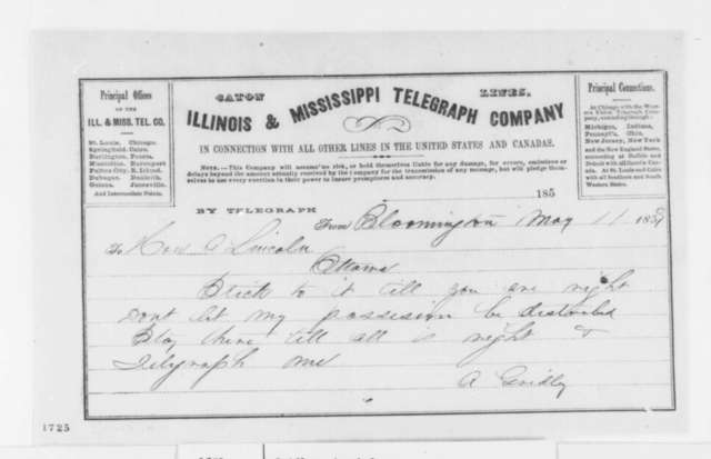Asahel Gridley to Abraham Lincoln, Wednesday, May 11, 1859  (Telegram; legal matters)