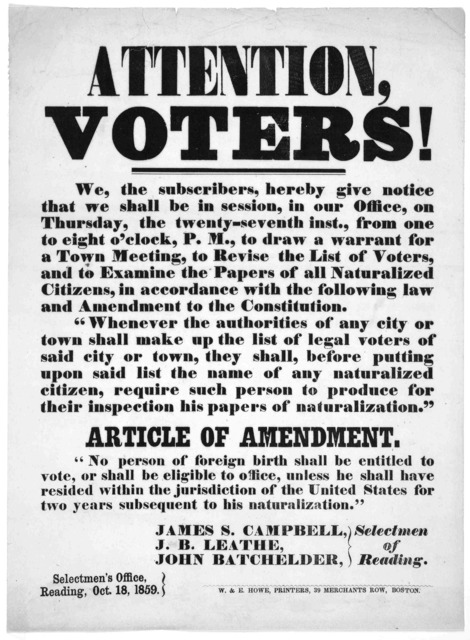 Attention, voters! We, the subscribers, hereby give notice that we shall be in session, in our office, on Thursday, the twenty-seventh inst., from one to eight o'clock, P. M., to draw a warrant for a Town meeting, to revise the list of voters, a