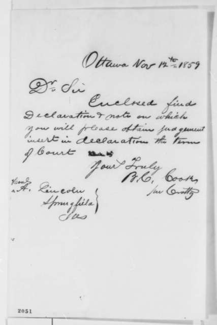 Burton C. Cook to Abraham Lincoln, Saturday, November 12, 1859