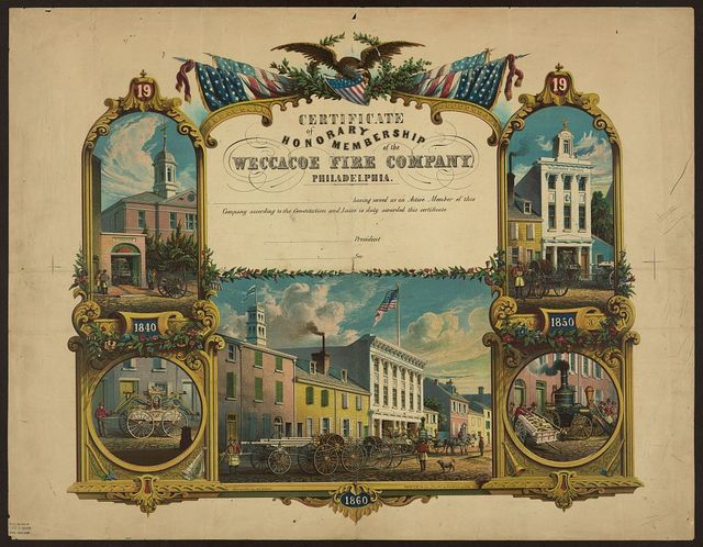 Certificate of honorary membership of the Weccacoe Fire Company, Philadelphia / des. & lith. by Jas. Queen ; printed in oil colors by P.S. Duval & Son, Pha.