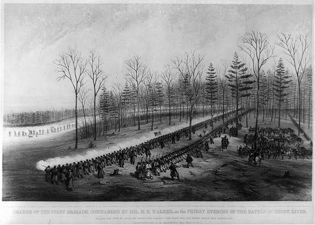 Charge of the first brigade, commanded by Col. M.B. Walker, on the Friday evening of the battle of Stone River ... / sketched by A.E. Mathews, 31st. Reg., O.V.I.