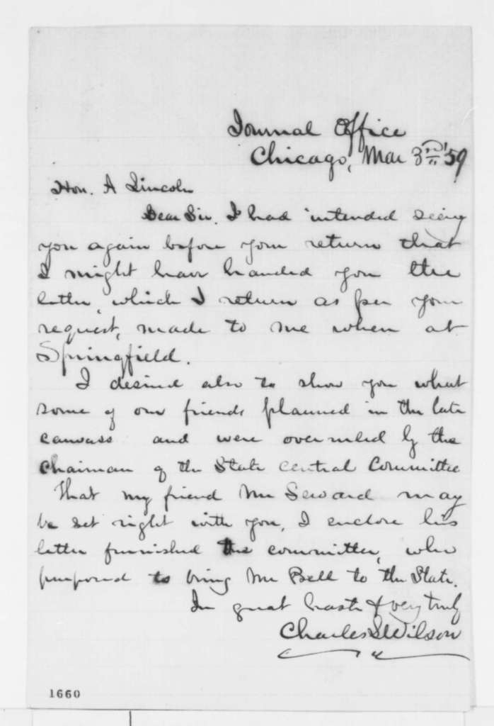 Charles L. Wilson to Abraham Lincoln, Thursday, March 03, 1859  (Return of letter)