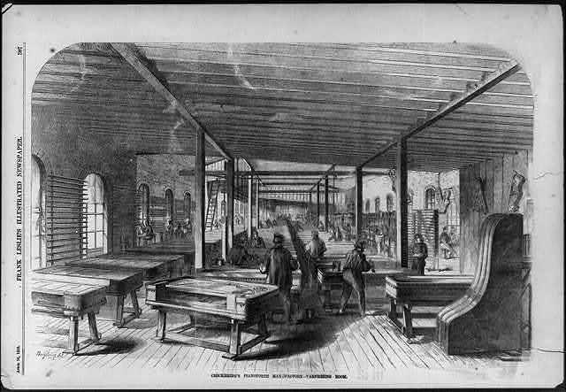 Chickering's Pianoforte Manufactory - varnishing room, [Tremont Street, Boston, Mass.]