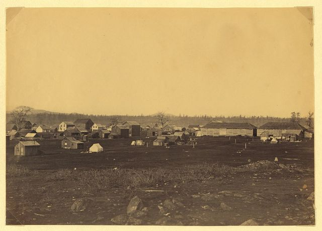 [Community adjacent to the fur trading post at Fort Victoria on Vancouver Island, British Columbia, showing cluster of buildings]