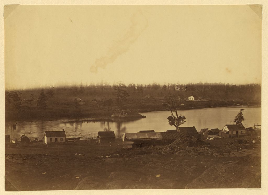 [Community adjacent to the fur trading post at Fort Victoria on Vancouver Island, British Columbia showing farm and buildings]