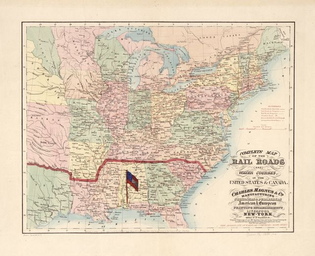 Complete map of the rail roads and water courses in the United Staes & Canada.