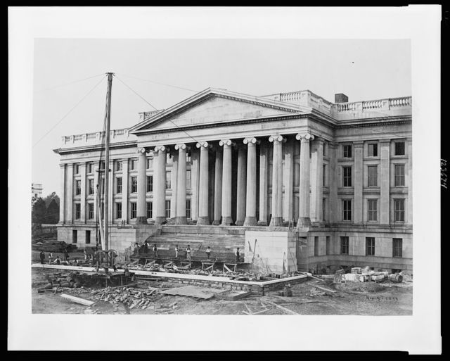 [Construction of the United States Treasury Building, Washington, D.C., showing construction of the front steps]