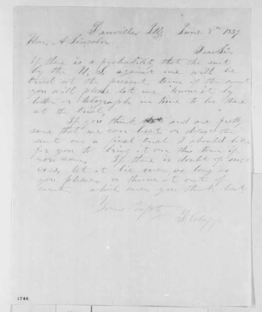 Daniel Clapp to Abraham Lincoln, Wednesday, June 08, 1859  (Legal matters)