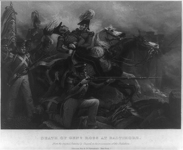 Death of Genl. Ross at Baltimore / from the original painting by Chappel in the possession of the publishers.