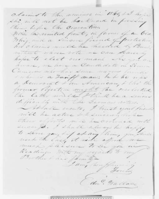 Edward Wallace to Abraham Lincoln, Monday, October 17, 1859  (Subject of talk)