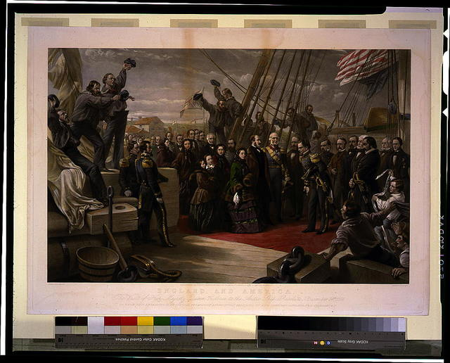 England and America. The visit of her majesty Queen Victoria to the Arctic ship Resolute - December 16th, 1856, to whom this engraving is by special permission respectfully dedicated by her obedient servants, P. & D. Colnaghi & Co. / painted by W. Simpson ; engraved by G. Zobel.