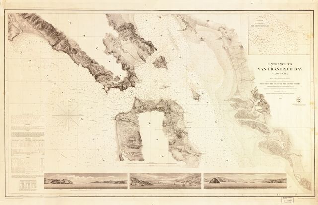 Entrance to San Francisco Bay, California : from a trigonometrical survey under the direction of A.D. Bache, Superintendent of the Survey of the Coast of the United States ; triangulation by R.D. Cutts, Asst. & A.E. Rodgers, Sub-Asst. ;  topography by R.D. Cutts, Asst., A.M. Harrison & A.F. Rodgers, Sub-Assts. ; hydrography by the party under the command of Lieut. Comdg. James Alden, U.S.N. Assist.