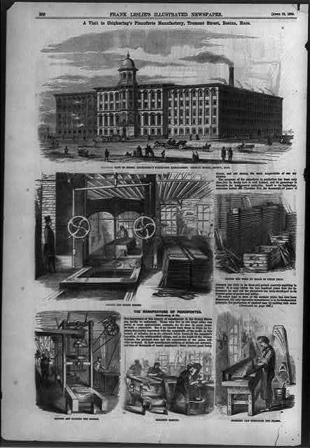 [Exterior view of Messers. Chickering's Pianoforte Manufactory and 5 views of operations inside, Tremont Street, Boston, Mass.]