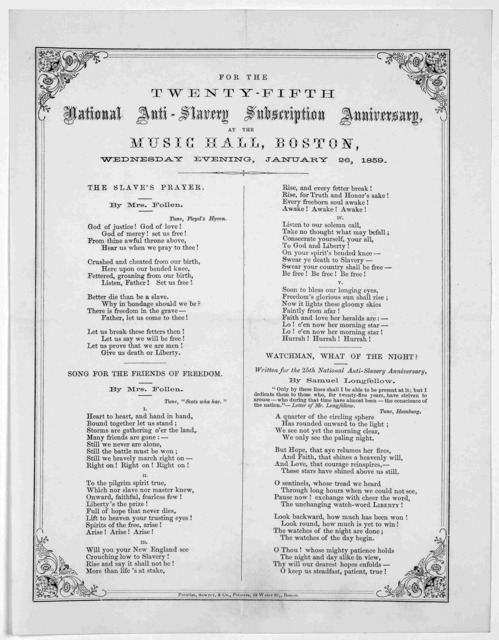 For the twenty-fifth National anti-slavery subscription anniversary, at the Music Hall, Boston, Wednesday evening, January 26, 1859 ... Boston. Prentiss, Sawyer, & Co., Printers 19 Water St. [1859].