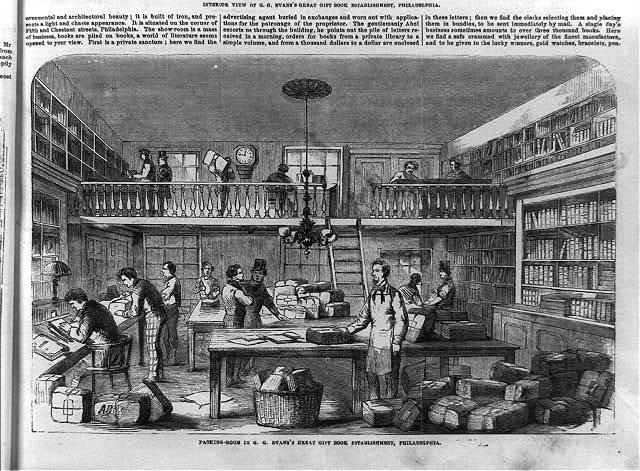 G. G. Evans's great gift book establishment, 439 Chestnut Street, Philadelphia: Packing room