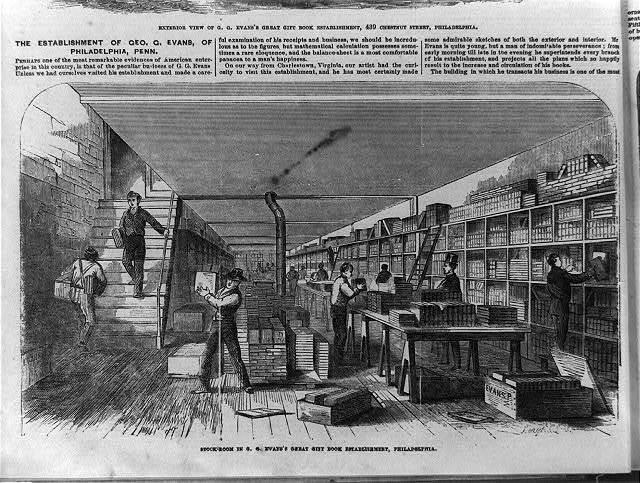 G. G. Evans's great gift book establishment, 439 Chestnut Street, Philadelphia: Stockroom