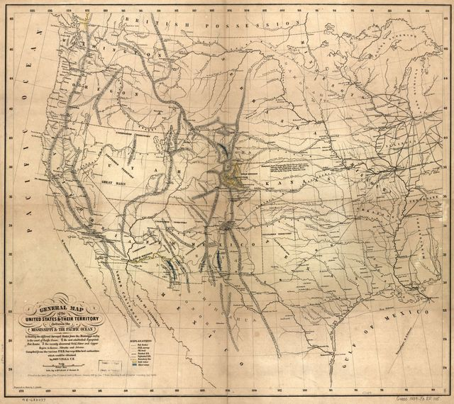 General map of the United States & their territory between the Mississippi & the Pacific Ocean. 1. Showing the different surveyed routes from the Mississippi valley to the coast of Pacific Ocean, 2. the new established & proposed Post Routes, 3. the recently discovered gold, silver, and copper region in Kansas, Nebraska and Arizona.