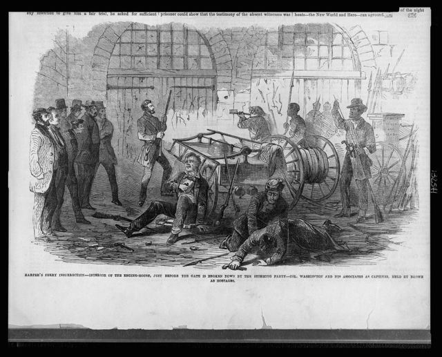 Harper's Ferry insurrection - Interior of the Engine-House, just before the gate is broken down by the storming party - Col. Washington and his associates as captives, held by Brown as hostages
