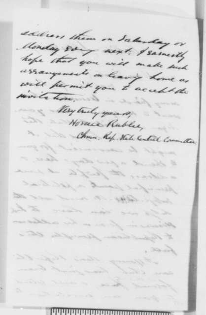 Horace Rublee (Wisconsin Republican Central Committee) to Abraham Lincoln, Sunday, September 25, 1859  (Invitation)