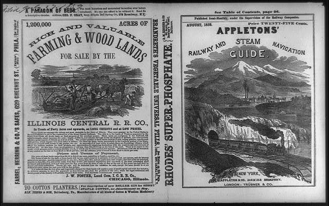 [Illustrated cover and back page advertisement from Appleton's railway and steam navigation guide]