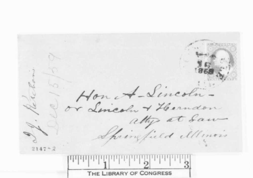 Isaac J. Ketcham to Abraham Lincoln, Thursday, December 15, 1859