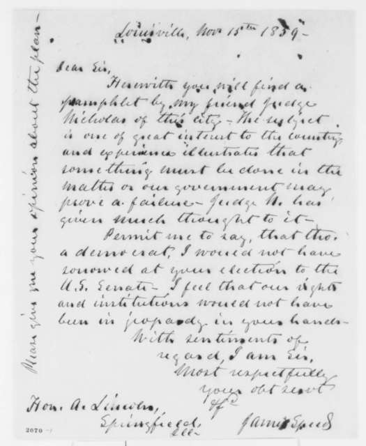 James Speed to Abraham Lincoln, Tuesday, November 15, 1859