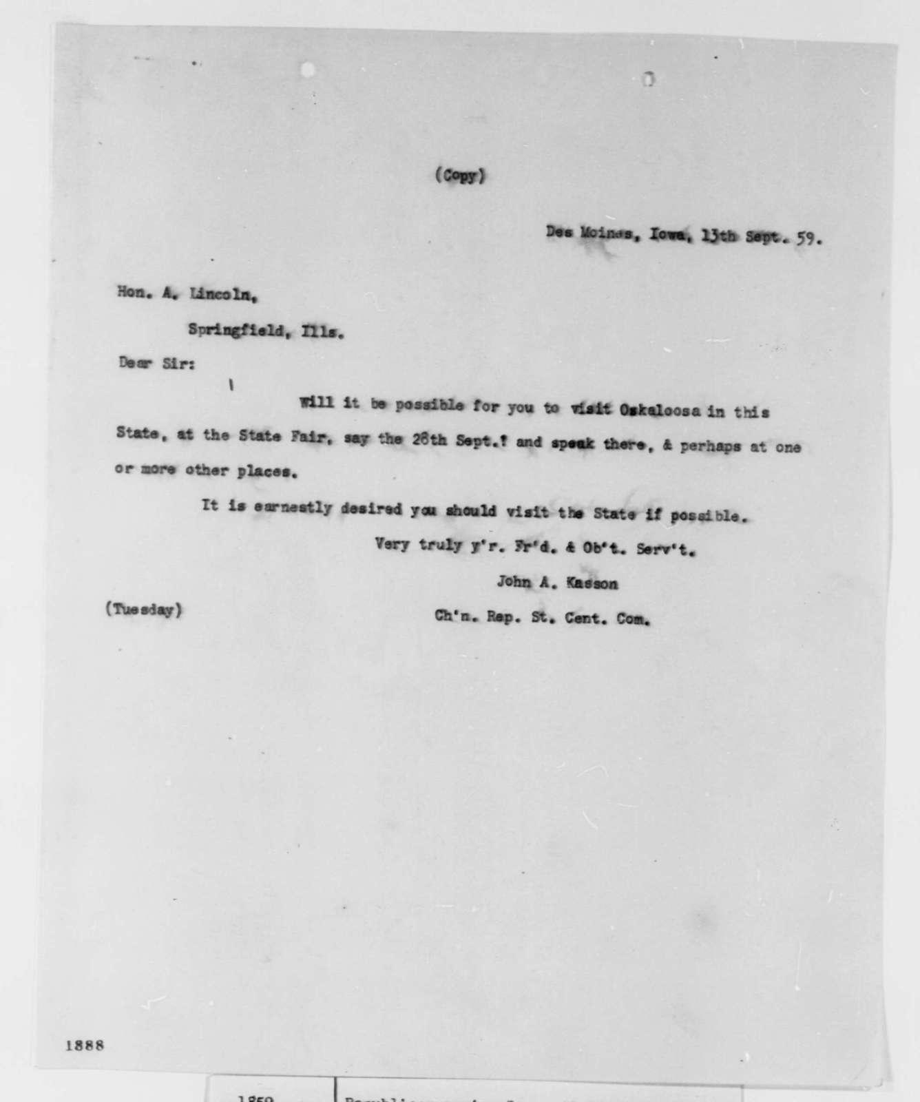 John A. Kasson to Abraham Lincoln, Tuesday, September 13, 1859  (Invitation (Iowa))