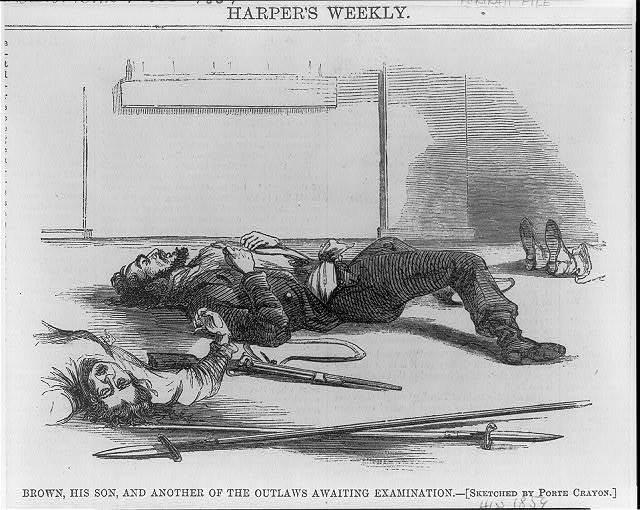 [John Brown, 1800-1859, full-length portrait, lying wounded on floor beside his son]