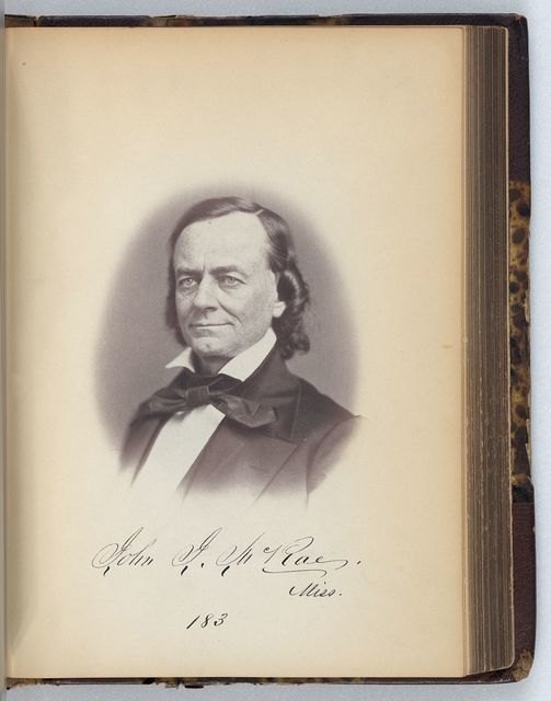 [John J. McRae, Representative from Mississippi, Thirty-fifth Congress, half-length portrait]