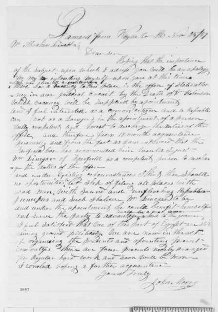 John Moore to Abraham Lincoln, Friday, November 25, 1859  (Recommendation)
