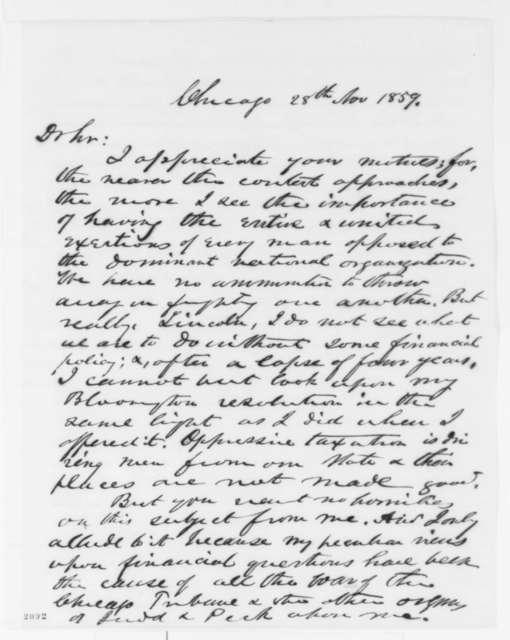 John Wentworth to Abraham Lincoln, Monday, November 28, 1859