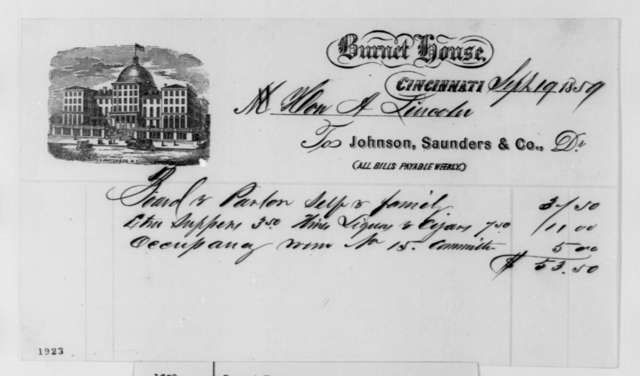 Johnson & Saunders Co. to Abraham Lincoln, Monday, September 19, 1859  (Bill)