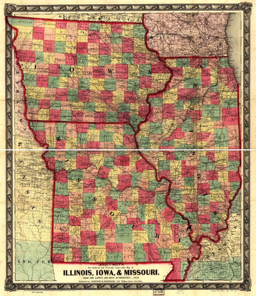 Johnson's new railroad and township copper-plate map of Illinois, Iowa, & Missouri, from the latest and best authorities.