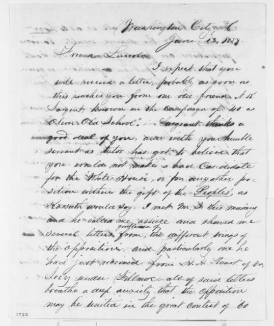 Josiah M. Lucas to Abraham Lincoln, Monday, June 13, 1859