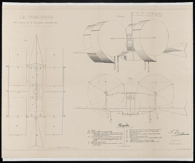 Le trans-ether, aéro-moteur de la navigation atmosphérique / F. Ducroz, breveté S.G. du Gt., 25, rue du Buloi ; Harent, lith.