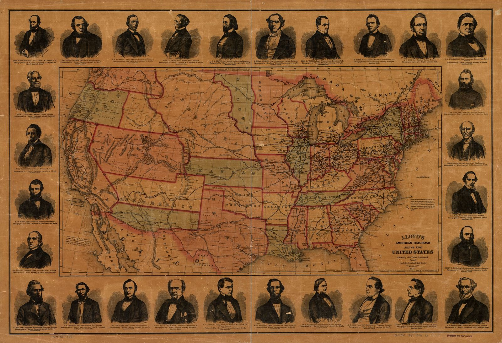 Lloyd's American railroad map of the United States, showing the three proposed roads and the overland mail route to the Pacific,