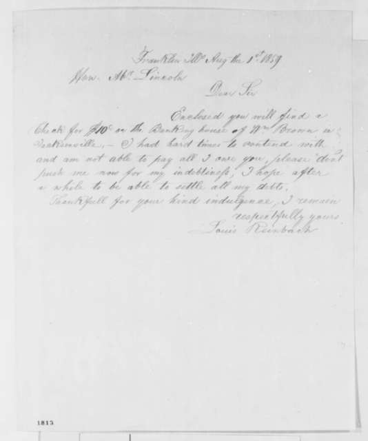 Louis Reinbach to Abraham Lincoln, Monday, August 01, 1859