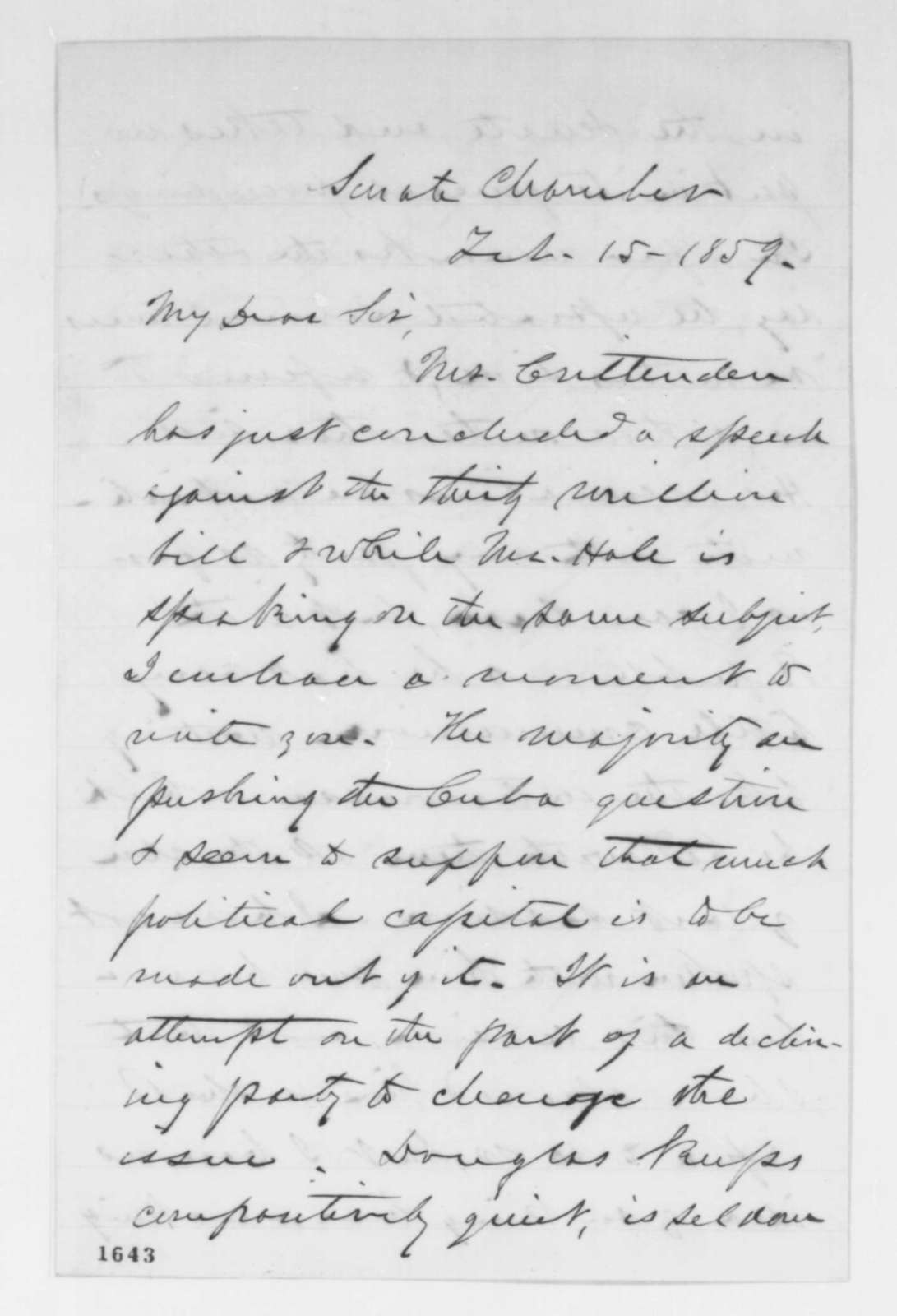 Lyman Trumbull to Abraham Lincoln, Tuesday, February 15, 1859