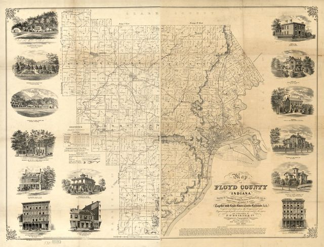 Map of Floyd County, Indiana : showing the townships sections divisions and farm lands with the owners' names and number of acres, together with roads, rivers, creeks, railroads, &c &c. /