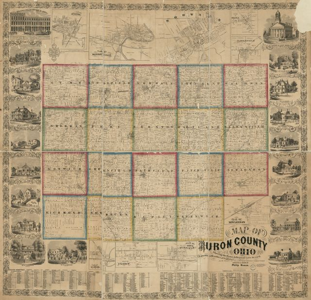 Map of Huron County, Ohio : showing the farms & original lots in each township with names of proprietors, also plans of villages & business directory /