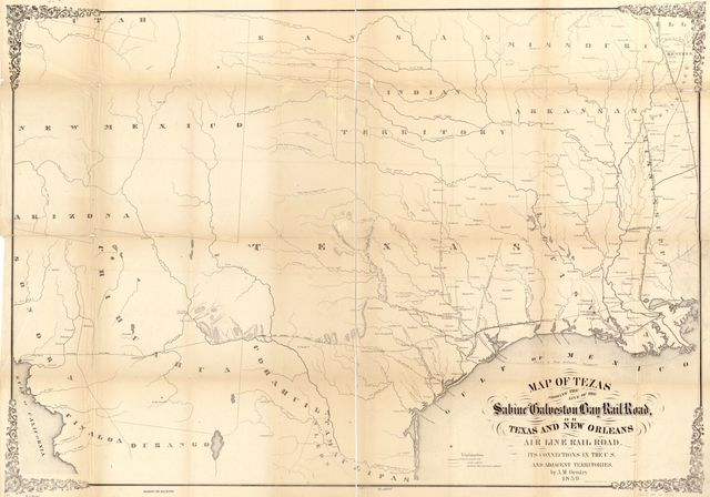 Map of Texas showing the Sabine and Galveston Bay Rail Road, or Texas and New Orleans Air Line Rail Line, its connections in the U.S. and adjacent territories.