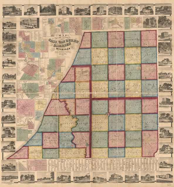 Map of the counties of Cass, Van Buren, and Berrien Michigan /